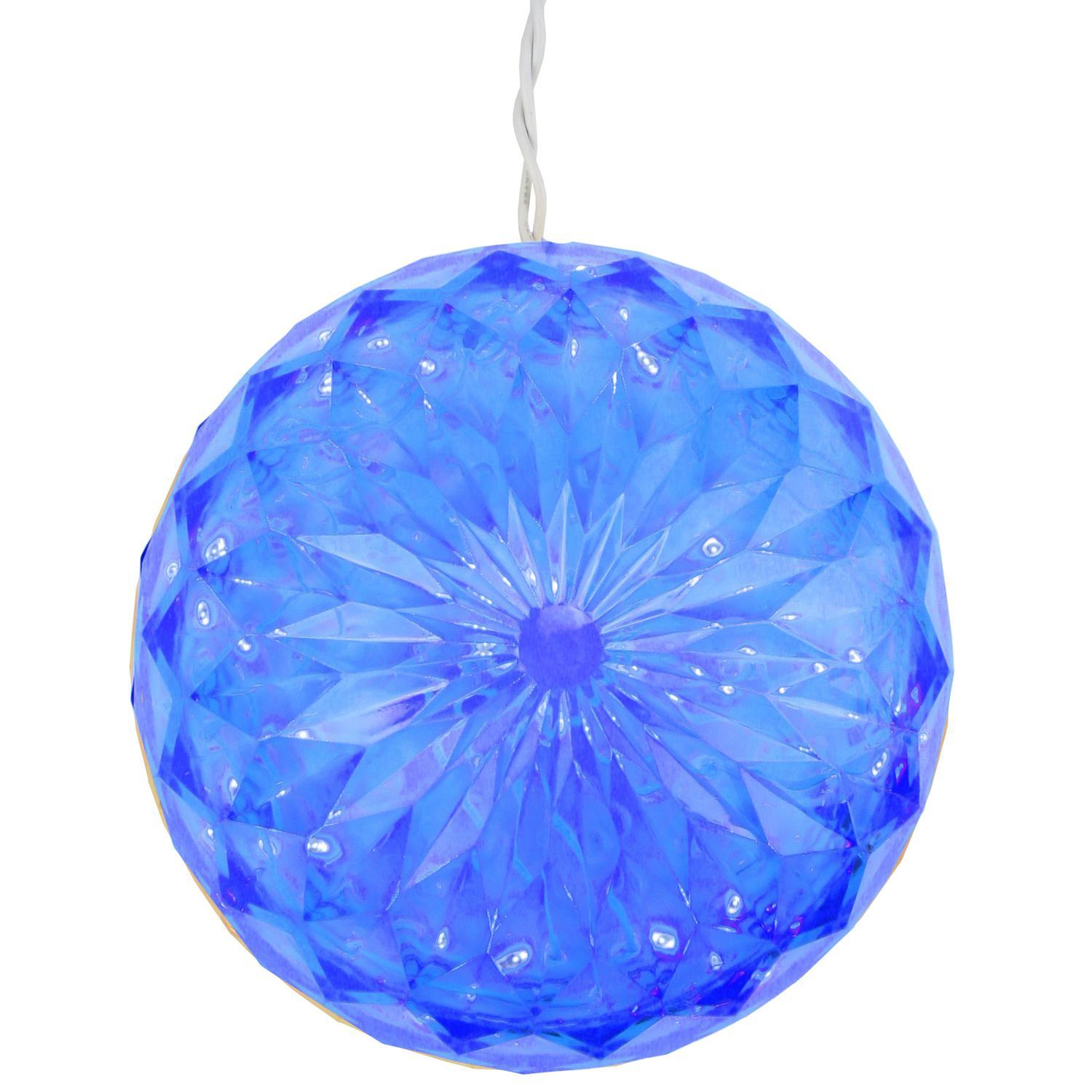 "6"" Blue LED Lighted Hanging Christmas Crystal Sphere Ball Outdoor Decoration"