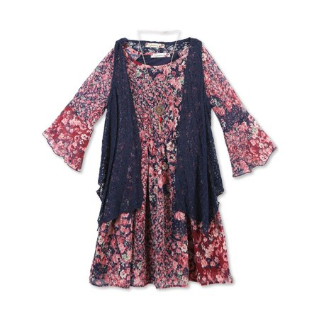 Lots of Love by Speechless 7-16 Boho Peasant Dress and Lace Vest 2-Piece Set with Necklace (Big Girls)