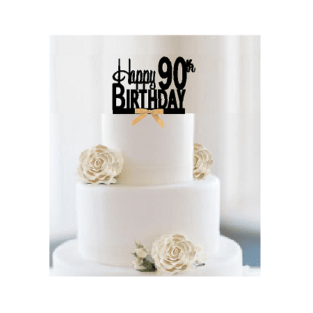 Item#090CTGR - Happy 90th Birthday Elegant Cake Decoration Topper with Gold Bow ()