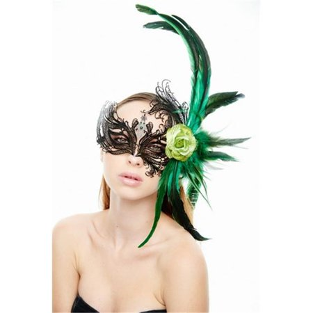 Black And Green Masquerade Mask (Kayso FBF003BK-GN Majestic Black Swan Laser Cut Masquerade Mask with Feathers & Green Flower Arrangement - One)