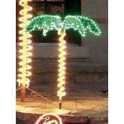 "44"" Tropical Lighted Holographic Rope Light Outdoor Palm Tree Yard Decoration"
