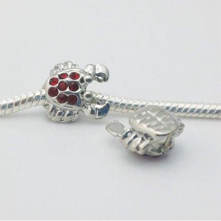 3 Beads - Red Rhinestone Crab Nautical Louisiana Platinum European Bead Charm E1562