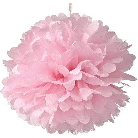 Tissue Paper Pom Pom (15-Inch, Pink) - For Baby Showers, Nurseries, and Parties - Hanging Paper Flower Decorations - Pink Hanging Decorations