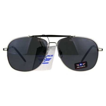 Mens Air Force Rectangular Police Flat Top Pilots Sunglasses Silver (Mens Small Rectangular Sunglasses)