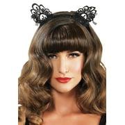 Leg Avenue Venice Lace Cat Ear Headband with Bows, O/S, Black