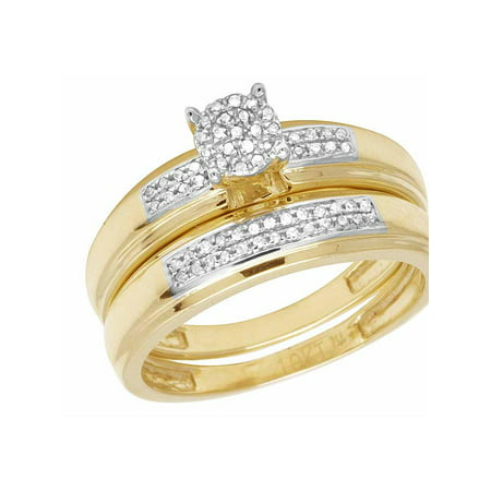 Ladies 10K Yellow Gold Genuine Diamond Bridal Wedding Ring Set 1/4 Ct 5MM Diamond Ladies Bridal Set