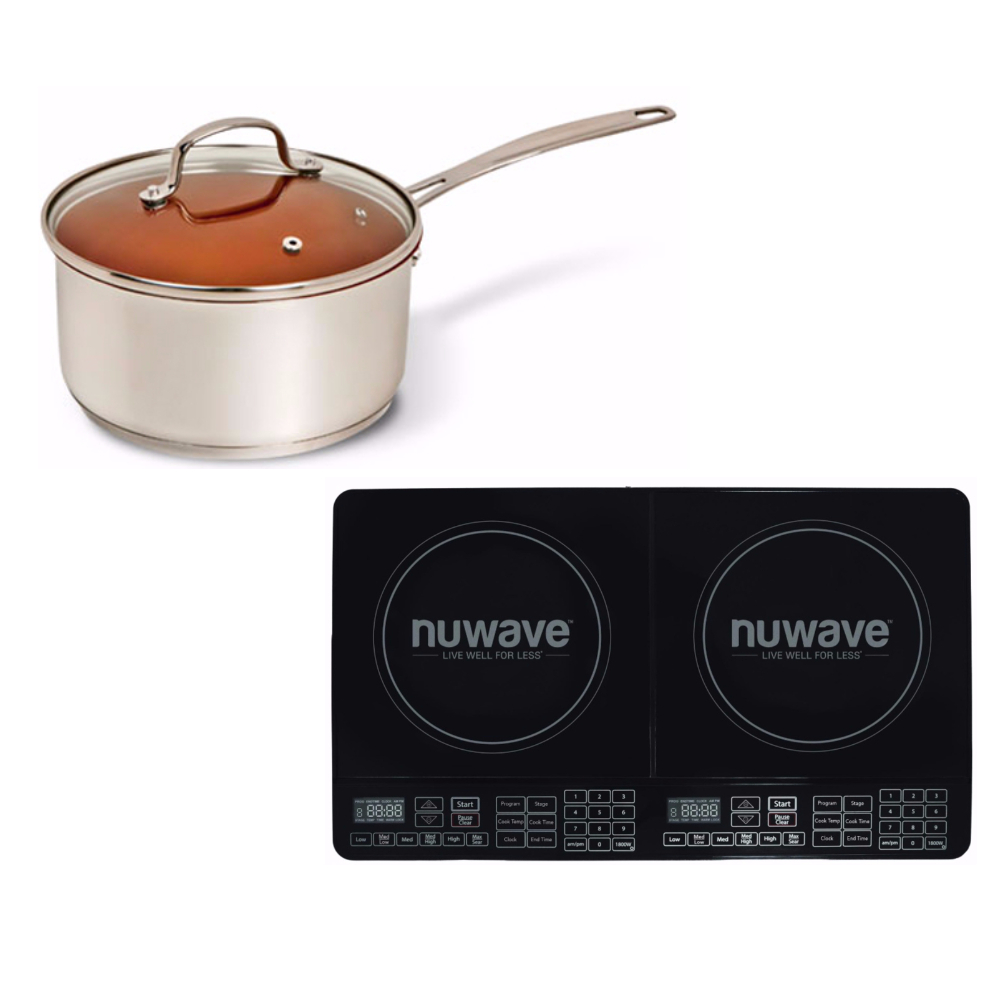 Nu-Wave 3qt Duralon Ceramic Non-stick Saucepan w/Double I...