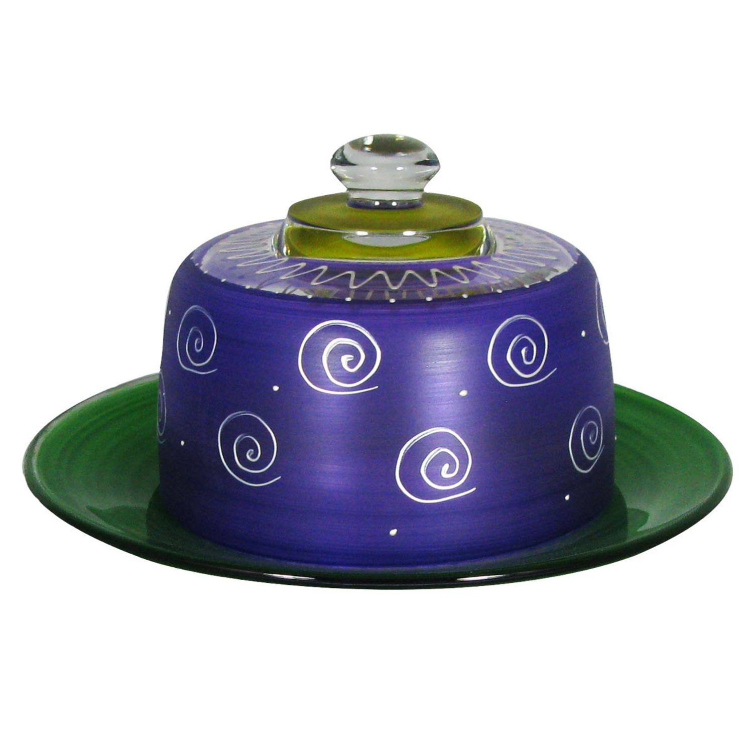 Frosted Purple and White Hand Painted Glass Cheese Dome with Plate 6""