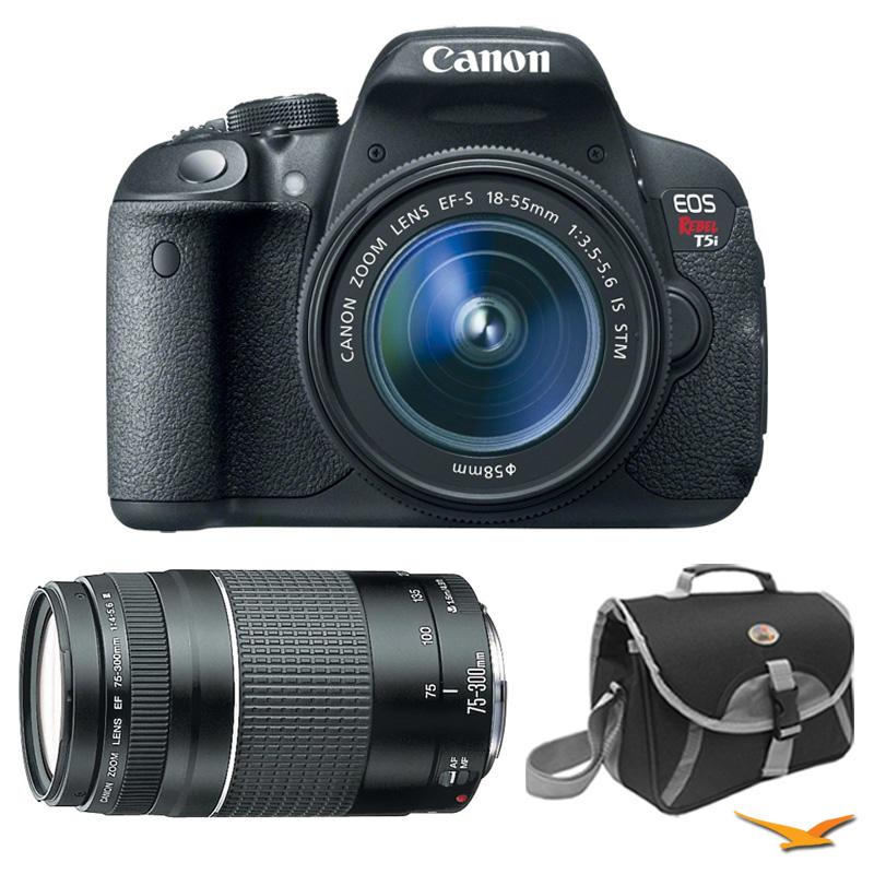 Canon EOS Rebel T5i Digital SLR w/ 18-55mm STM Lens + 75-...