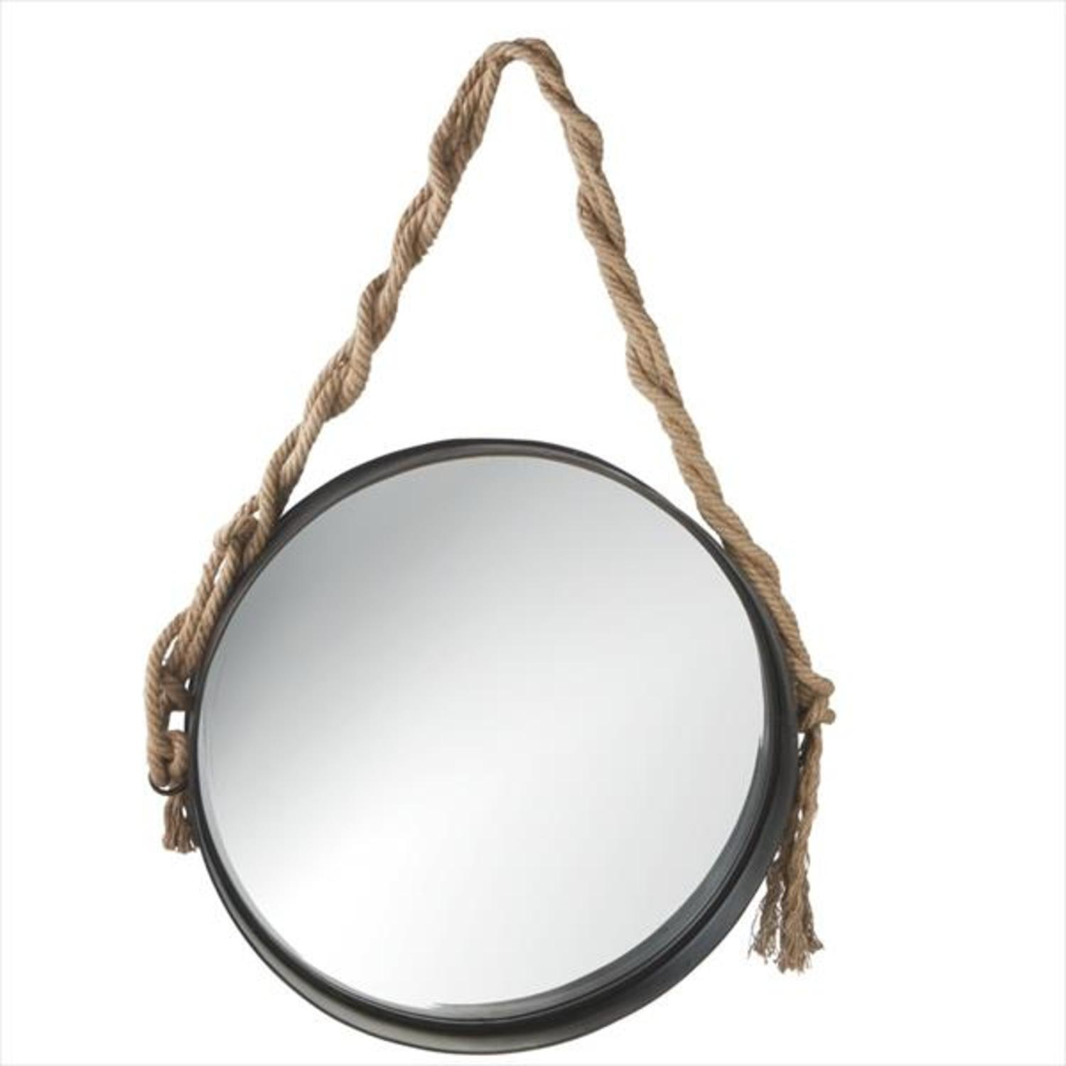 20 Black Rimmed Wall Mirror With Twisted Jute Rope Hanger Walmart Com Walmart Com