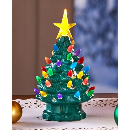 small retro lighted tabletop christmas tree green