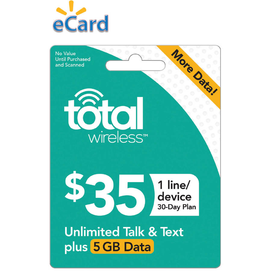 Total Wireless $35 Unlimited Talk, SMS and Data (Capped at 5GB) 1 Line, 30 Service Days (Email Delivery)