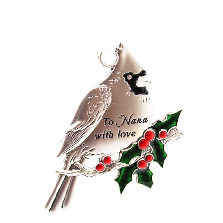 To Nana With Love Cardinal and Holly Christmas Ornament - By Ganz - Cardinal Christmas Ornaments