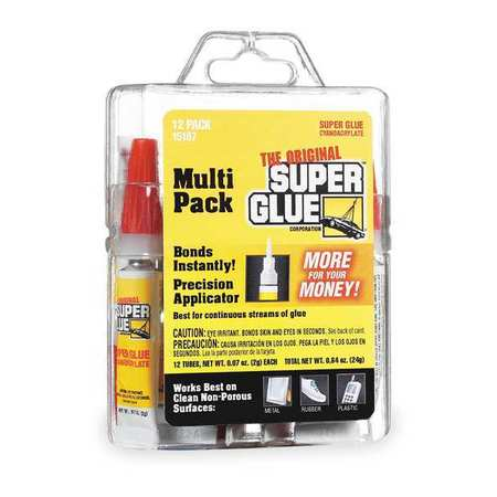 Super Glue 15187 2g Tube Instant Adhesive, Clear - Pack of 12