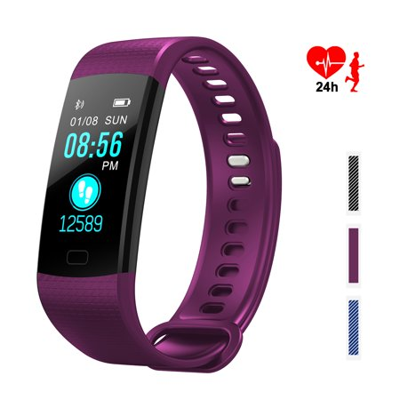 IMAGE Fitness Tracker Bluetooth Waterproof Smart Wristbands Bracelet with Sleep Step Counter Smart Watch Strap Color Screen Activity with Heart Rate Monitor for Women Men and Kids, Purple Color ()