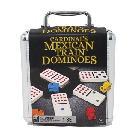 Mexican Train Dominoes Game in Aluminum Carry - Gas Domino