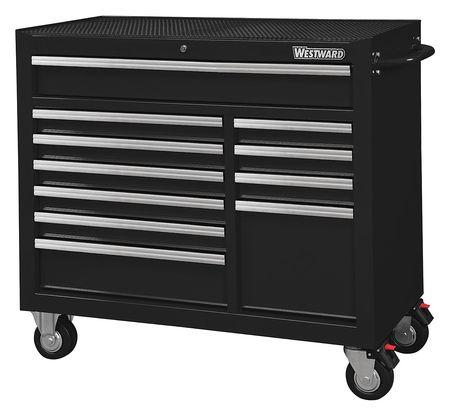 """WESTWARD Rolling Cabinet,42"""" W,39-13/16"""" H,Black 32H856"""