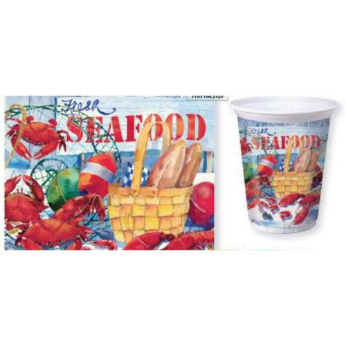 Club Pak of 96 Seafood Celebration, Lobster, Crab16 oz Plastic Disposable Cups