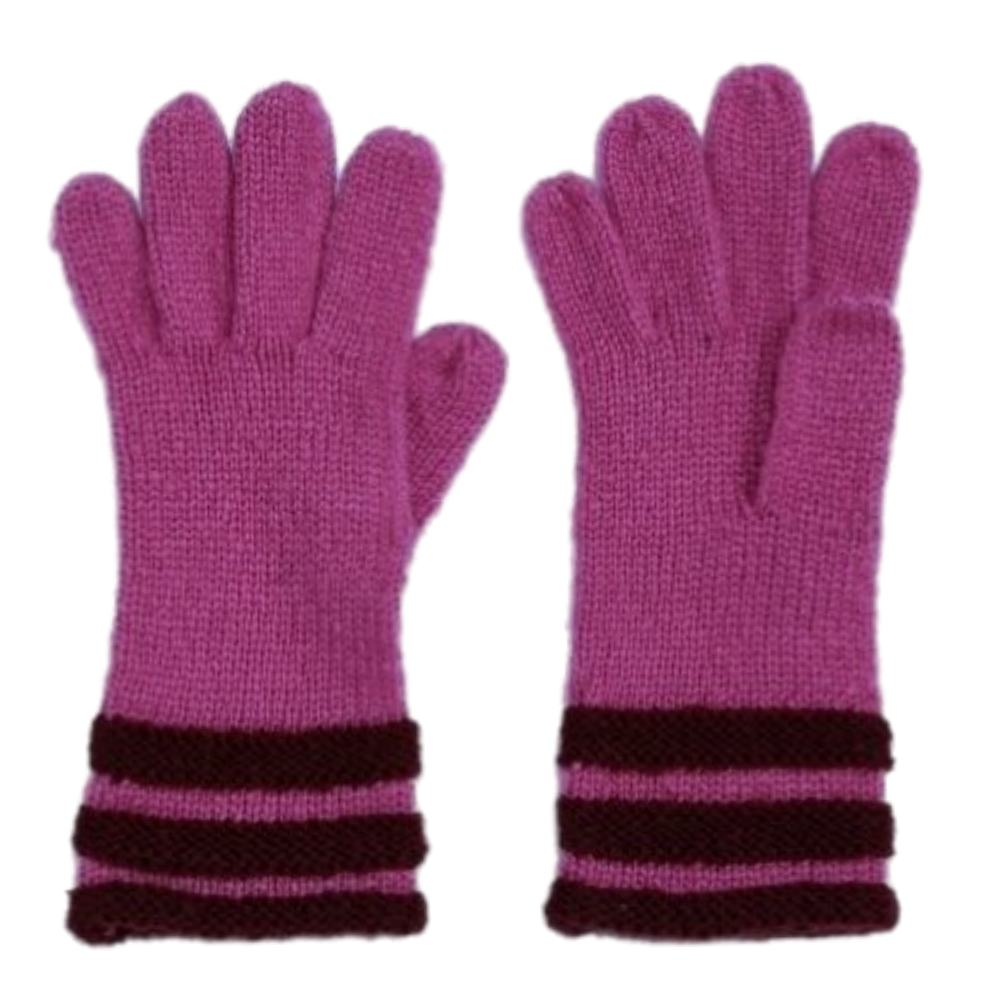 Fownes Womens Soft Purple Striped Knit Gloves Fuchsia Berry