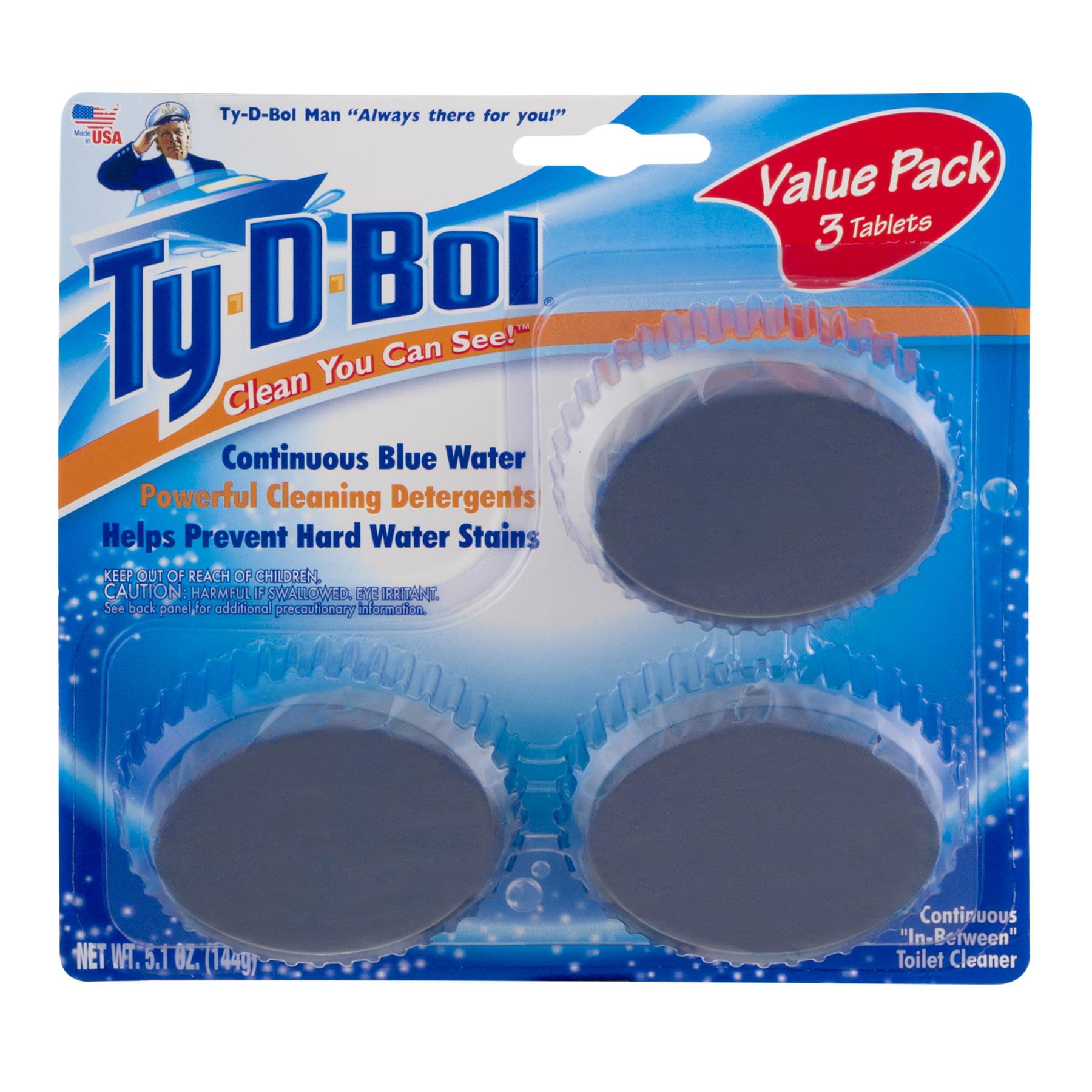 (3 pack) Ty-D-Bol Blue Toilet Bowl 1.7 oz Cleaner Tablets, 3-Pack