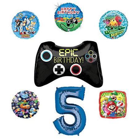 Video Gamers 5th Birthday Party Supplies and Balloon Decorations (Sonic, Super Mario, Pac Man and Slither.io) - Mario Birthday Party