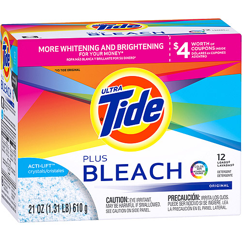 Ultra Tide Vivid White + Bright Plus Bleach Original Powder Laundry Detergent, 21 oz