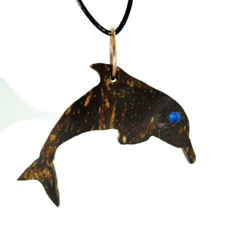 Coconut Creations Handcrafted Jewelry Charm Necklace from Florida Coconuts - Dolphin