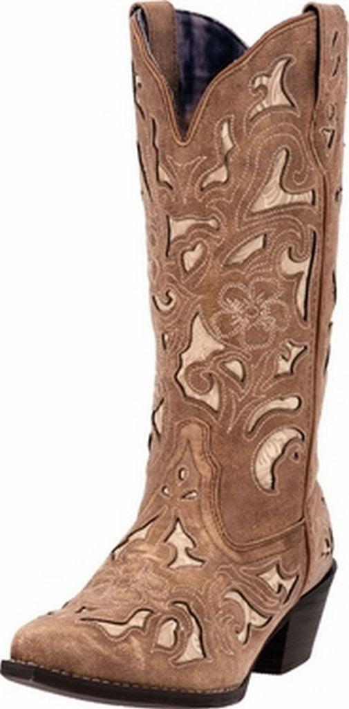 "Laredo Western Boots Womens 13"" Bone Underlay CC Tan Crackle 52041 by Laredo"