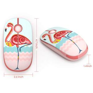 Cute Flamingo pattern 2.4G Slim Wireless Mouse with Nano Receiver Portable Mobile Optical mouse(Flamingo)