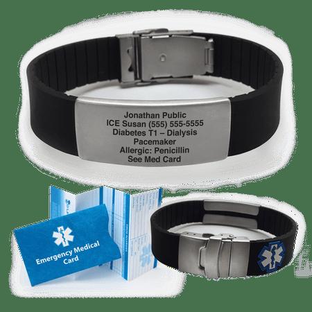 Medical Alert Bracelets >> Silicone Sport Medical Alert Id Bracelet Custom Engraved Choose Your Color