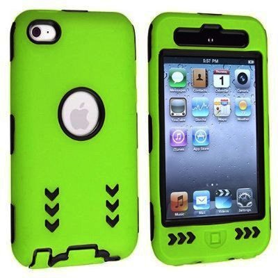 Arrow Hybrid Case Cover for Apple iPod Touch 4G, 4th Generation, 4th Gen - Black/Green (Ipod Touch 4 Cases Lego)