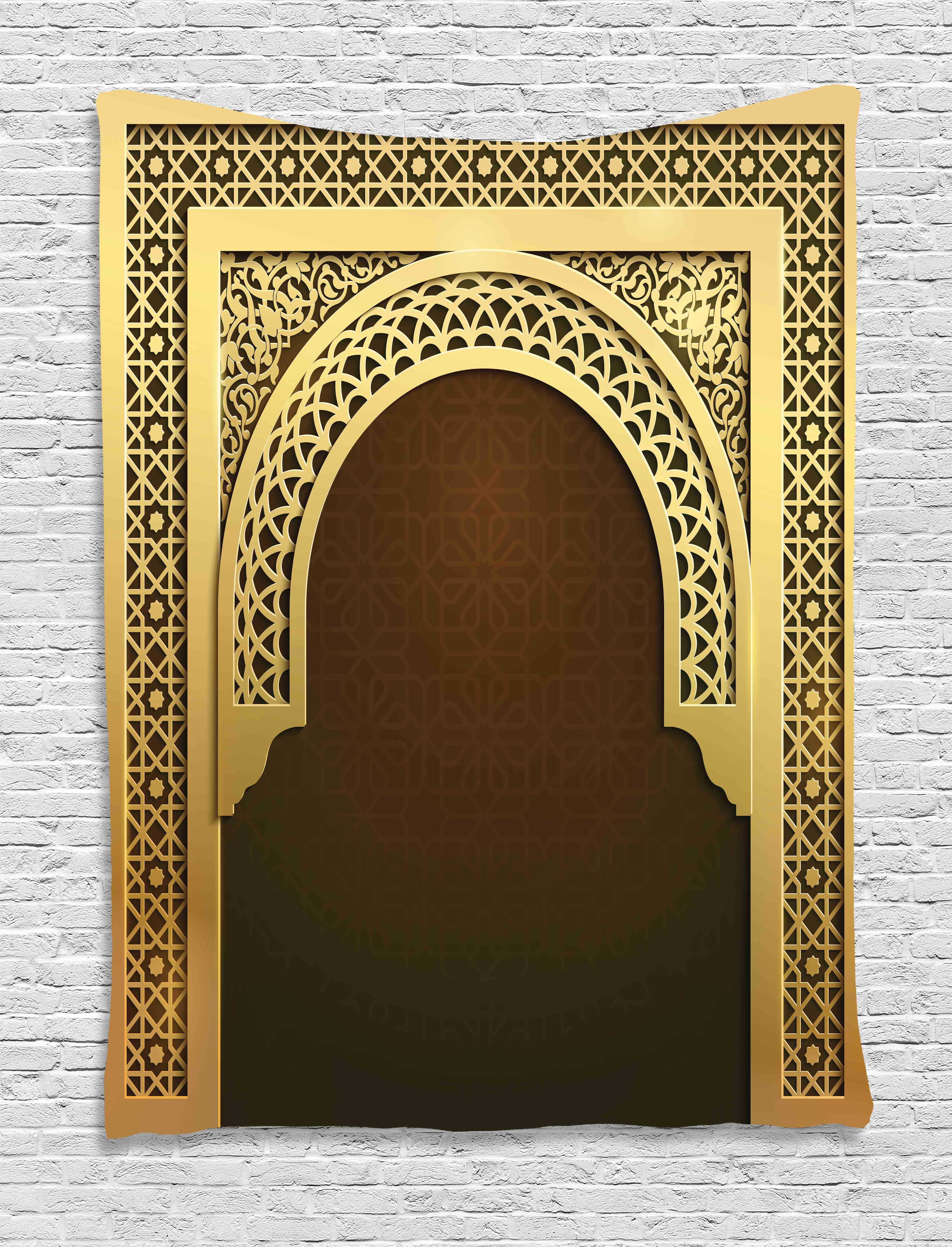 Moroccan Tapestry, Middle Eastern Ramadan Greeting Scroll Arch Figure... by Kozmos