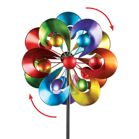 Chickadees Yard Design - Colorful Double-Sided Spinner Yard Stake with Bold Arch Design - Seasonal Outdoor Decoration