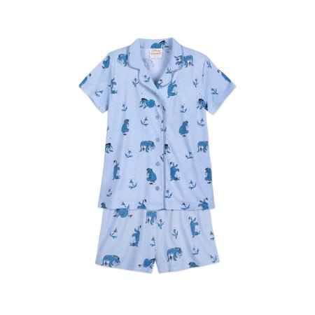 Disney 2 piece Coat Top Character Pajama Short sets, Blue Eeyore, Size: 2X](Female Disney Characters)