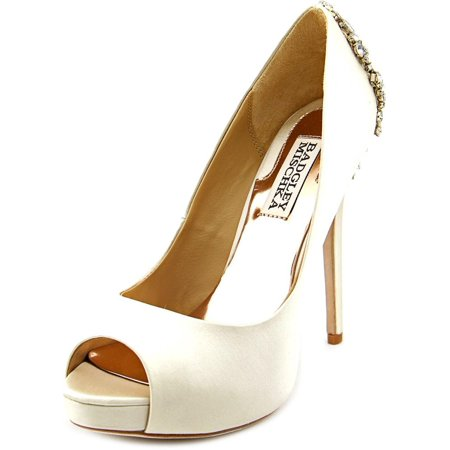 Badgley Mischka Kiara Women Open Toe Canvas Ivory Platform Heel