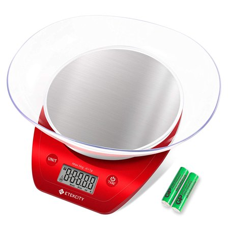 Red 18th Scale - Etekcity Digital Food Scale Kitchen Multifunction Weight Scale with Removable Bowl, 11 lb 5kg (AAA Battery)