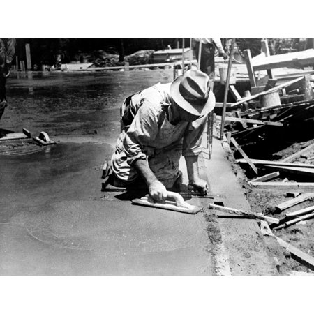 Maryland Worker 1936 Nworker Using A Trowel To Level A Cement Floor Greenbelt Maryland Photograph By Carl Mydans August 1936 Poster Print By Granger Collection