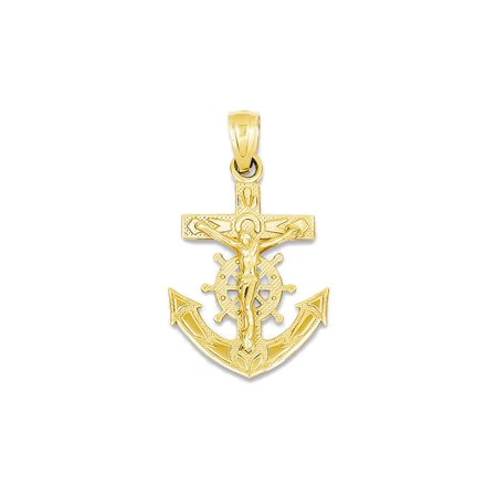 14k Gold Mariners Cross - 14K Yellow Gold Mariner Anchor Cross Charm Pendant - 25mm