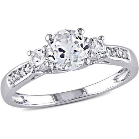 Miabella 1 1 3 Carat T G W  Created White Sapphire And Diamond Accent 10Kt White Gold Three Stone Engagement Ring