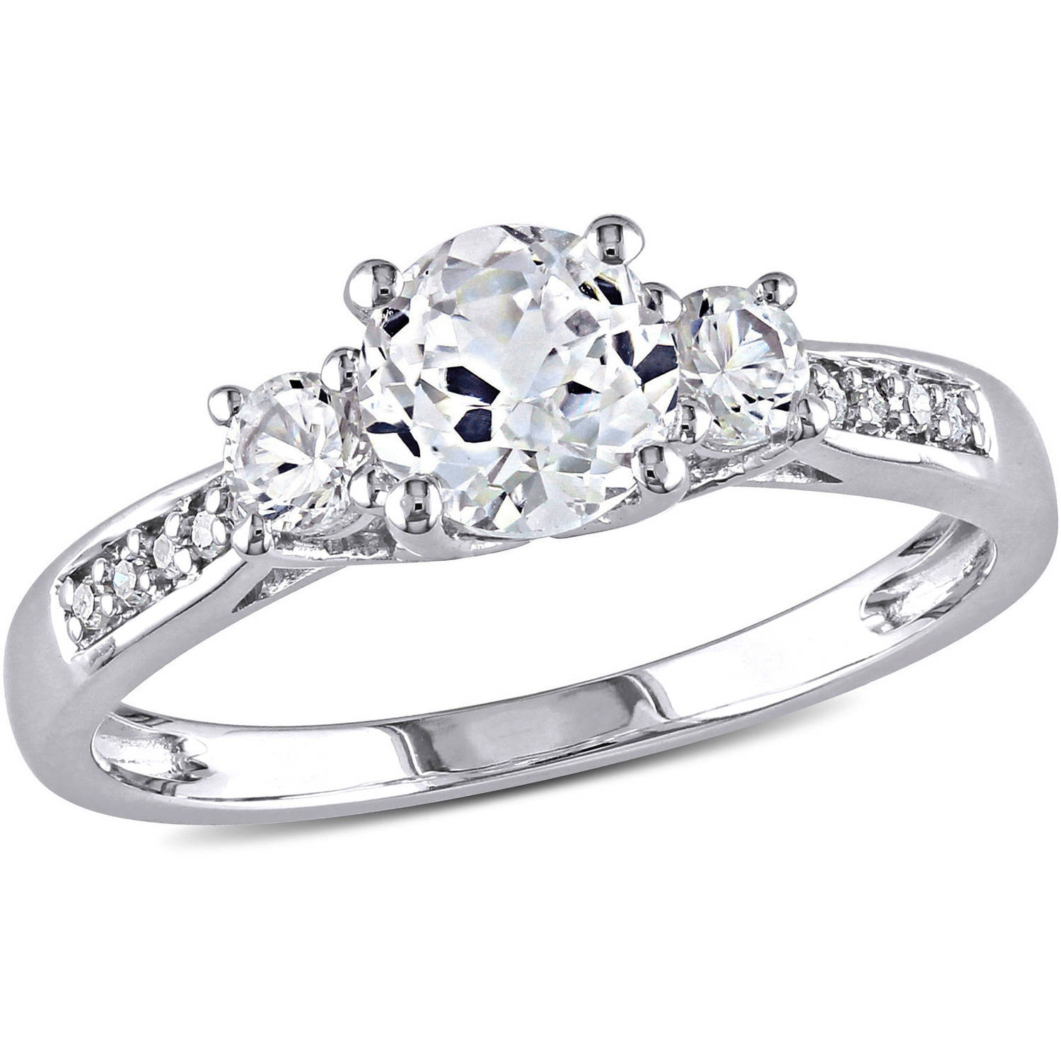 Miabella 1-1/3 Carat T.G.W. Created White Sapphire and Diamond-Accent 10kt White Gold Three Stone Engagement Ring