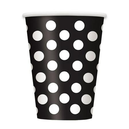 Black Polka Dot 12 Oz Hotcold Cups 6 Ctblack Polka Dot Paper Cups