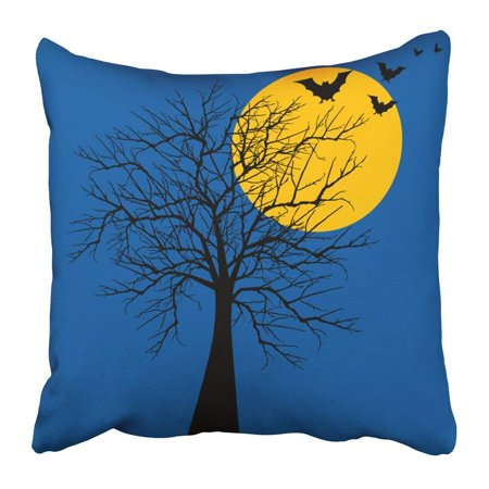 BPBOP Black Full Halloween Tree with Bats Orange Moon Whimsical Bent Bewitch Branch Crooked Damned Pillowcase Pillow Cushion Cover 18x18 inch](Black Tree Branches Halloween)