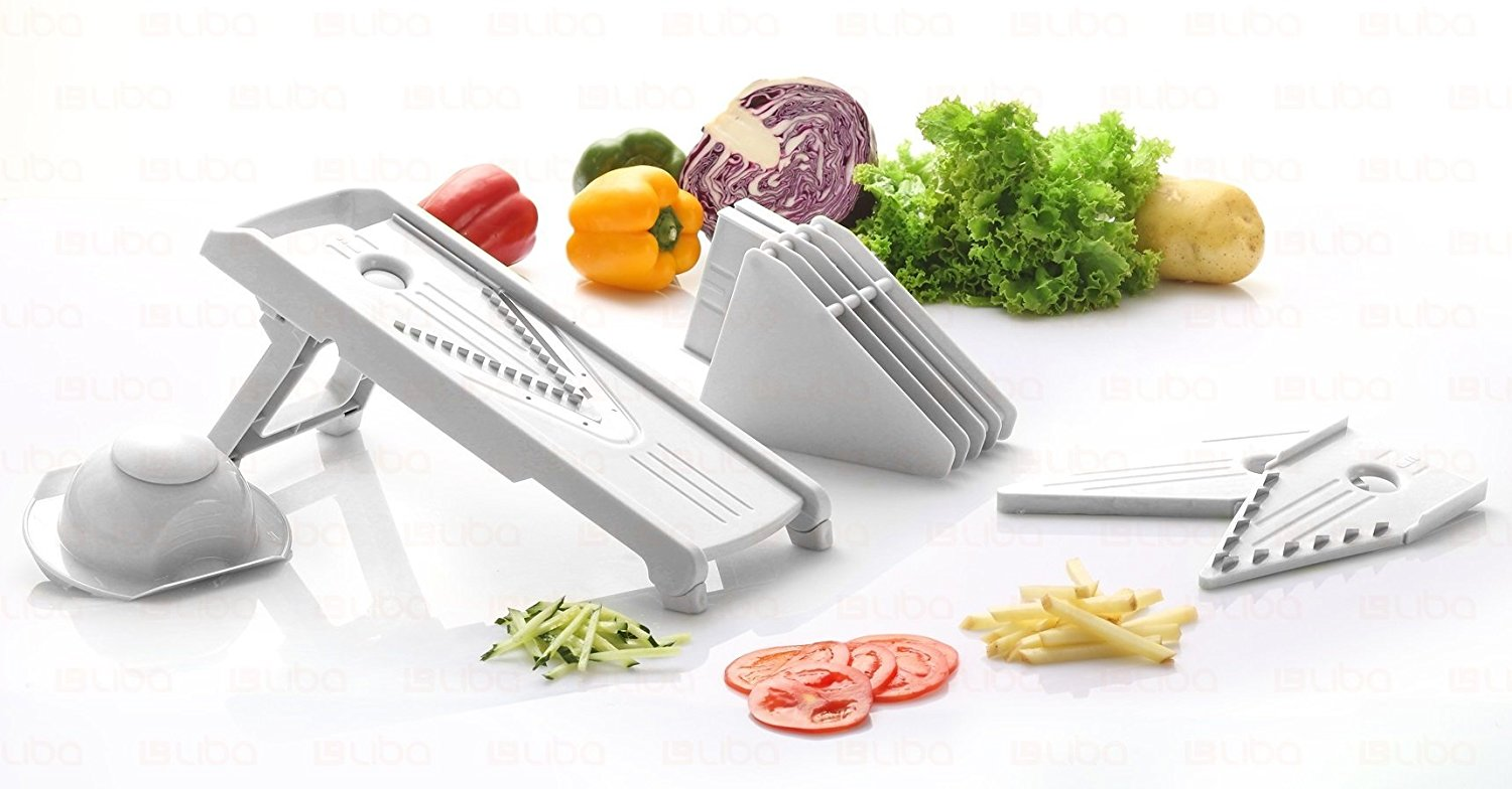 Mandoline Slicer Vegetable Food Cutter Cheese Julienne Chopper Surgical Grade Stainless Steel Blades White