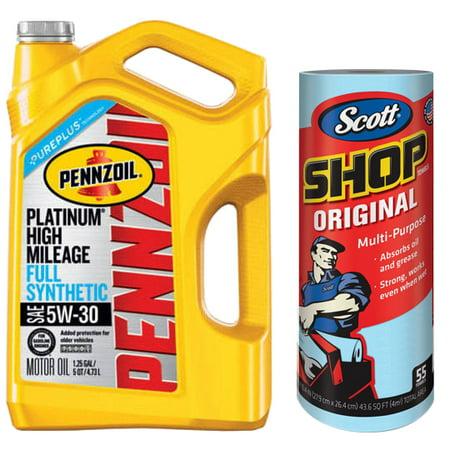 Pennzoil Platinum High Mileage 5W-30 Motor Oil, 5 qt with Scott Original Blue Shop Towels, (1 Roll of 55 sheets) Kimberly-Clark Bundle