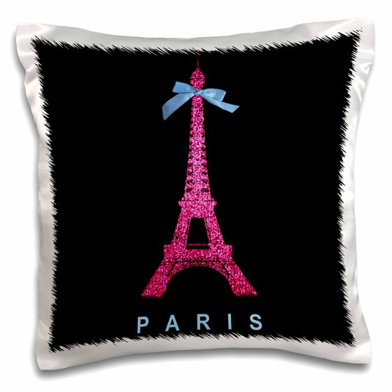 Paris Eiffel Tower Pillow 16 X 16: 3dRose Hot Pink Paris Eiffel Tower From France With Girly