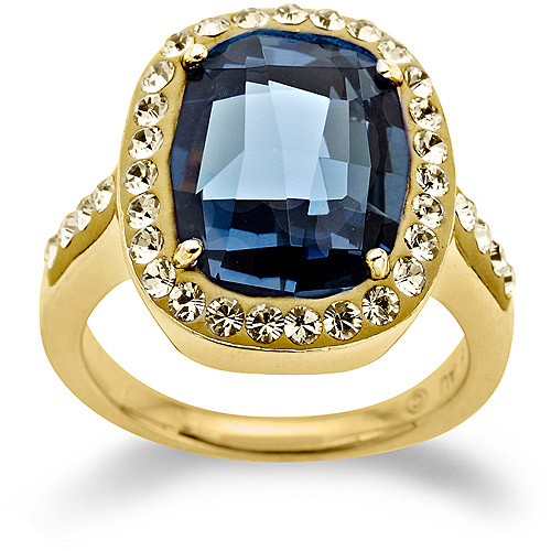 Luminesse Swarovski Elements Gold over Sterling Silver Blue Ring, Size 7
