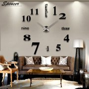 "Spencer Frameless DIY Wall Clock, Modern Large 3D Mirror Sticker for Living Room Bedroom Office Home Decoration ""Black"""