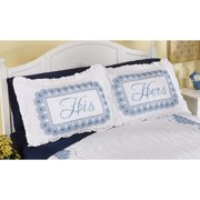 Herrschners  Clouds Pillow Shams Pair Stamped Cross-Stitch