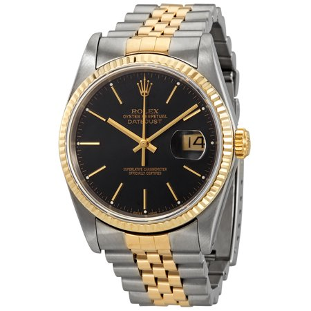 Pre-owned Rolex Oyster Perpetual Datejust 36 Automatic Chronometer Black Dial Men's Watch 16233