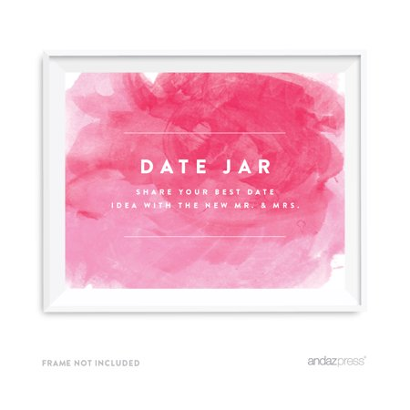 Date Jar - Share Best Date Idea Pink Watercolor Wedding Party